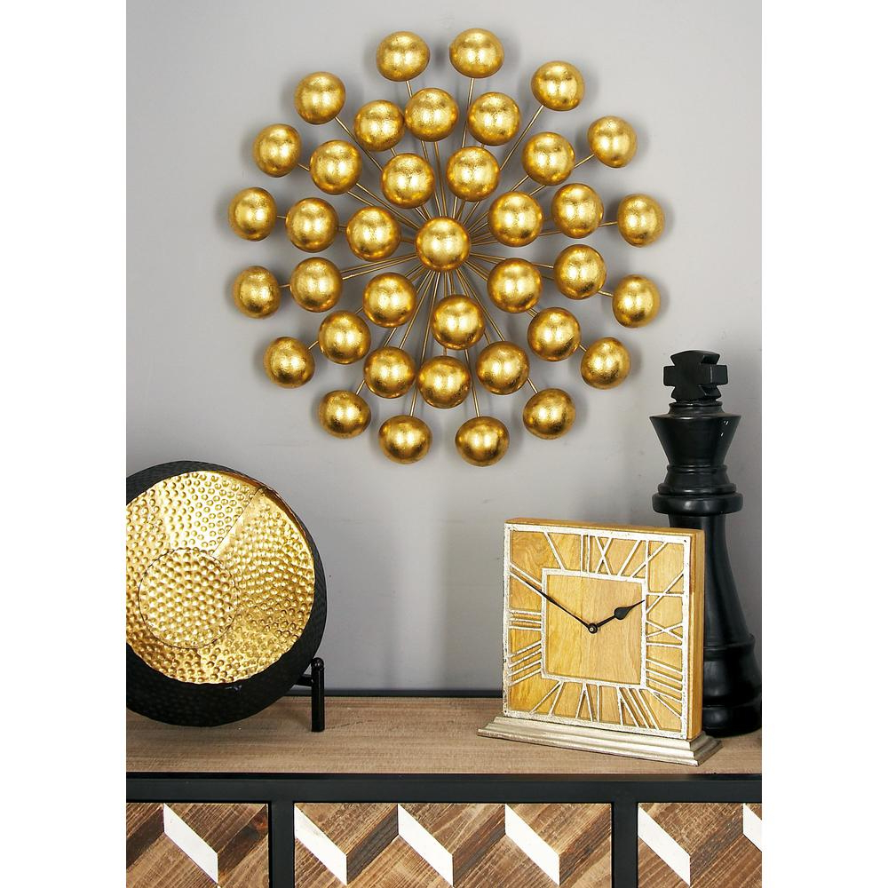 Preferred Litton Lane Modern Iron Gold Finished Ball Burst Wall Decor 48632 Pertaining To Contemporary Abstract Round Wall Decor (View 15 of 20)