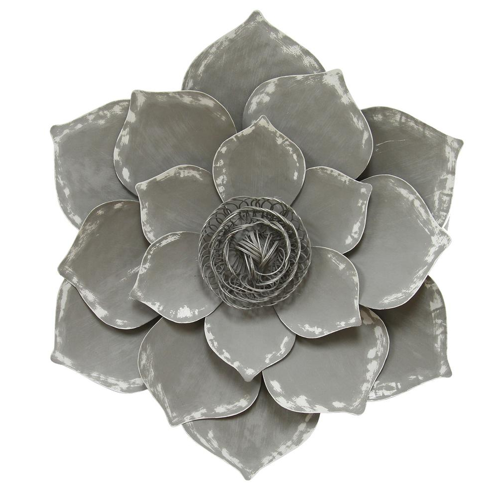 Preferred Stratton Home Decor Metal Grey Lotus Wall Decor S07656 – The Home Depot Pertaining To 2 Piece Multiple Layer Metal Flower Wall Decor Sets (Gallery 8 of 20)