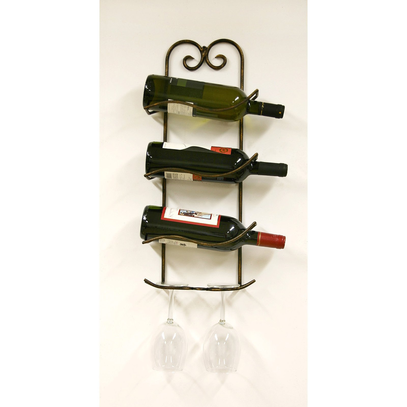 Preferred Three Glass Holder Wall Decor Regarding Regent 3 Bottle Wall Wine/glass Holder – Walmart (Gallery 5 of 20)