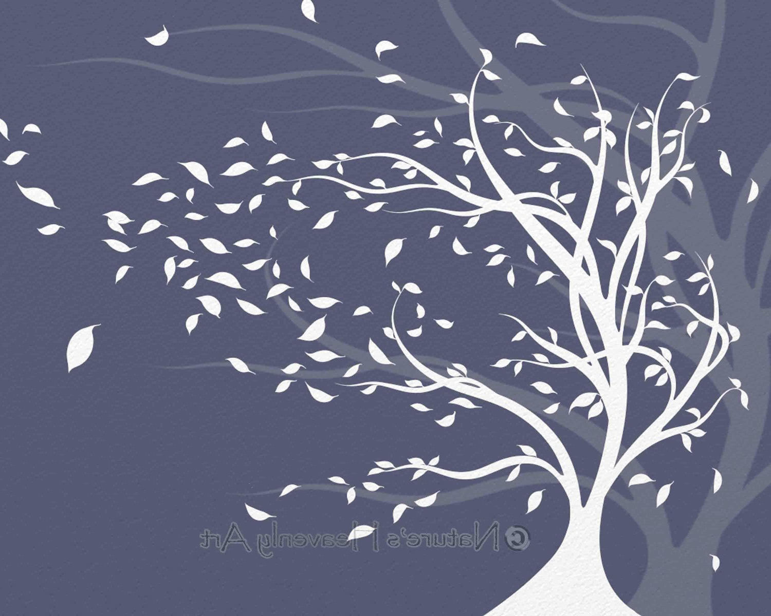 Print, Wind Tree Wall Art, Blowing Leaves, Nature (View 15 of 20)