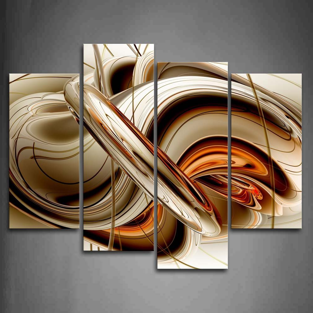 Recent Abstract Bar And Panel Wall Decor Inside First Wall Art – Abstract Brown White Lines Painting The Picture (Gallery 11 of 20)