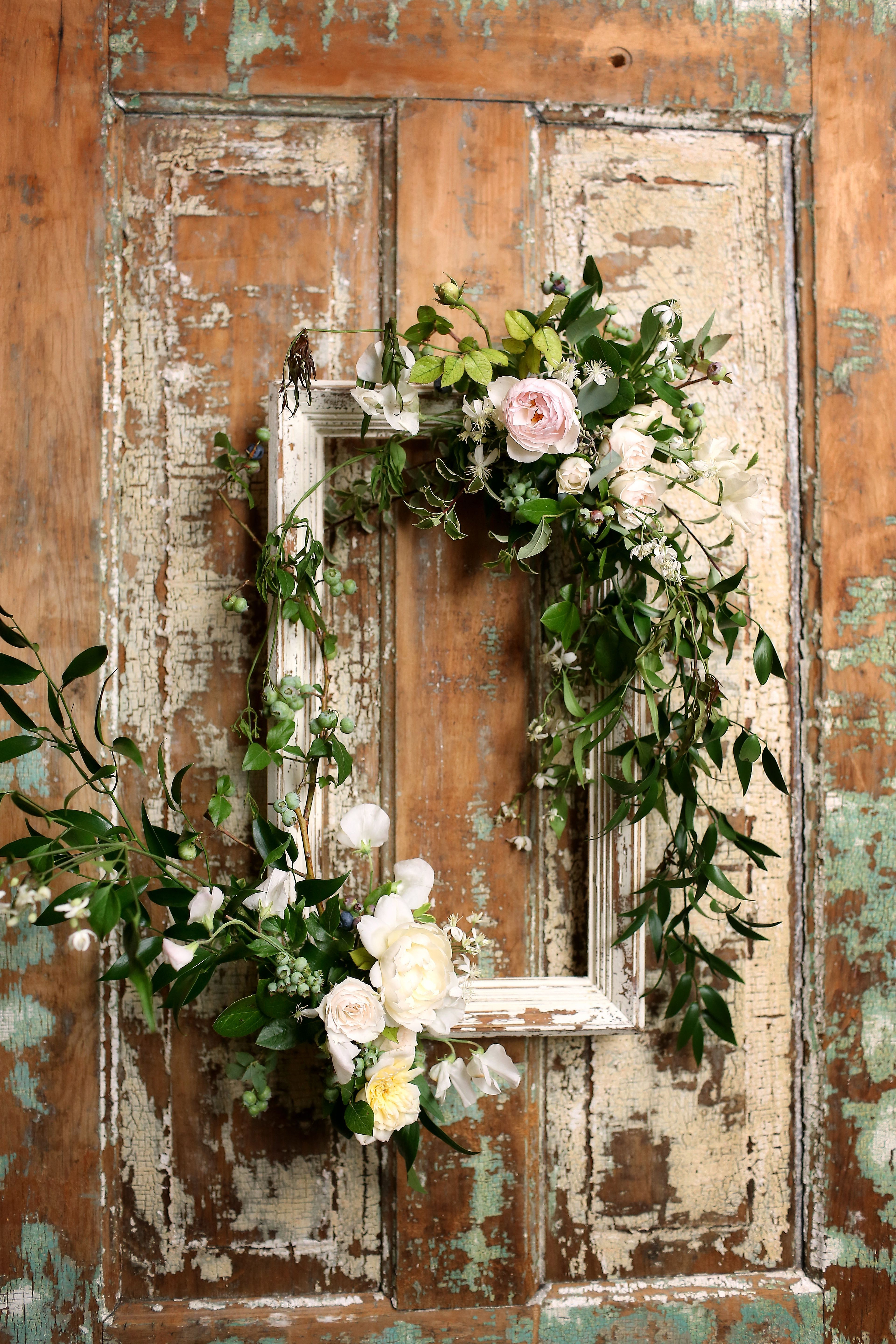 Recent Floral Wreath Wood Framed Wall Decor For Wooden Frame With Vines And Pink Roses (View 11 of 20)