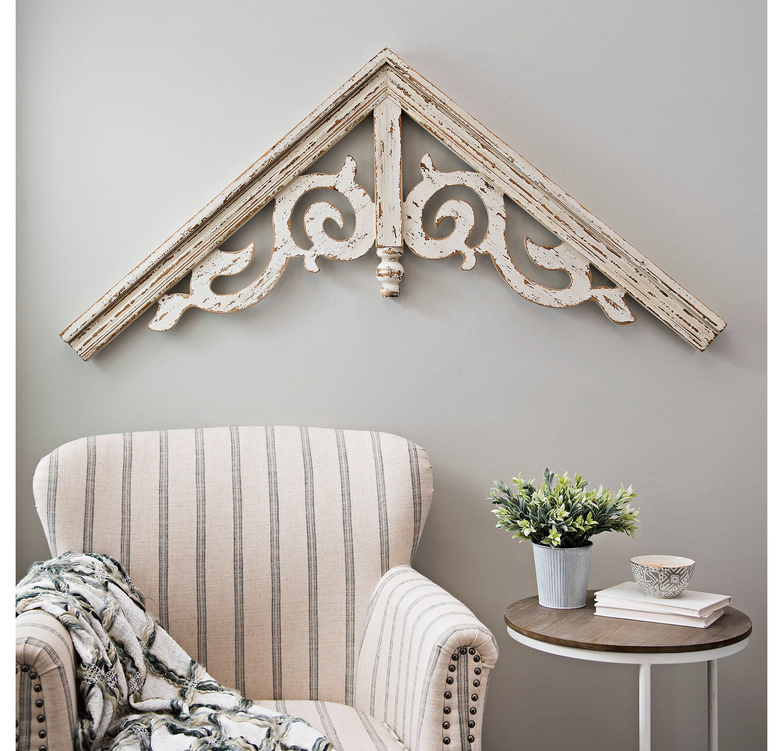 Recent Ornate Scroll Wall Decor Regarding Product Details Corbel Antique White Ornate Scroll Arched Plaque In (View 15 of 20)