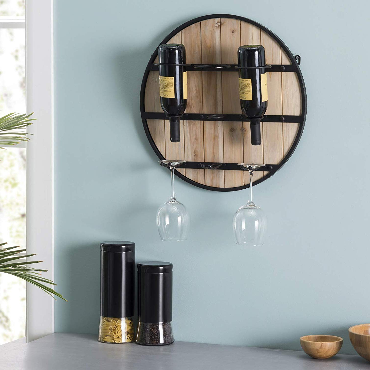 Recent Three Glass Holder Wall Decor With Regard To Excello Global Products Wooden Wall Mounted Wine Rack: Wine Bottle (View 14 of 20)