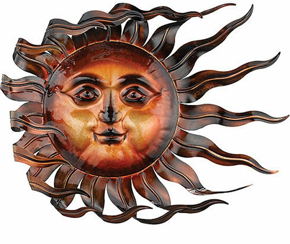 Recycled Moon And Sun Wall Decor In Most Recent Sunswept Sun Face Wall Art Wind Blown Celestial Indoor Outdoor Home (View 11 of 20)