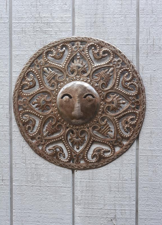 Recycled Moon And Sun Wall Decor Throughout Most Popular Sun Moon Celestial – Art Under The Tree Haiti Metal Art (View 12 of 20)
