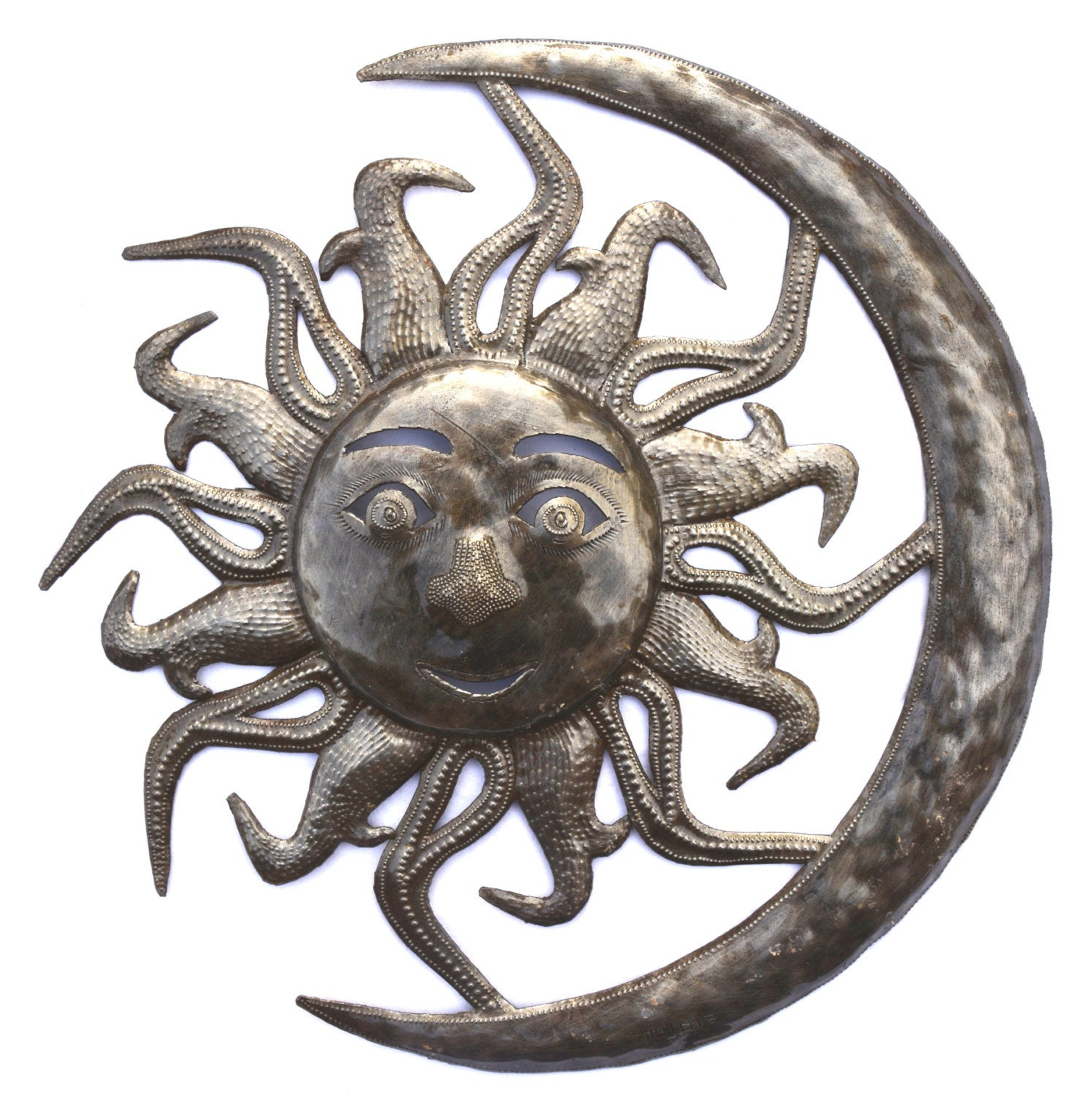 Recycled Moon And Sun Wall Decor Within Most Popular Moon And Sun – Haitian Metal Art Wall Hanging – Metal Wall Art (View 15 of 20)