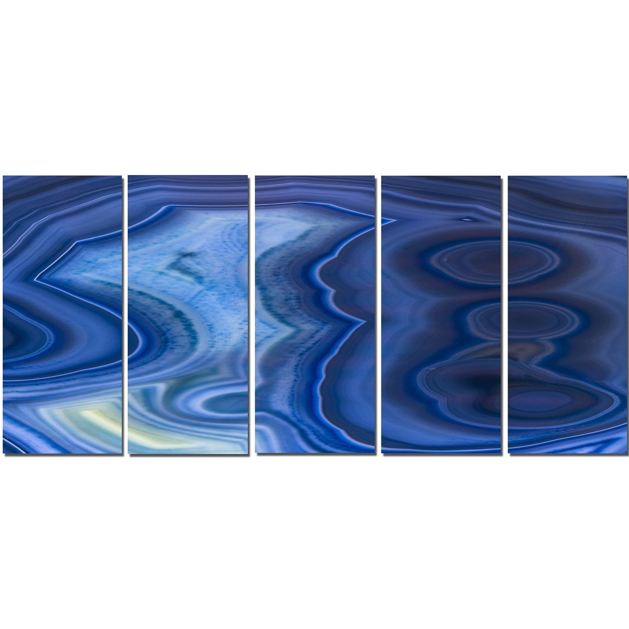 Reeds Migration Wall Decor Sets (Set Of 3) In Widely Used Designart 'blue Agate Stone Design' 5 Piece Graphic Art On Wrapped (View 11 of 20)