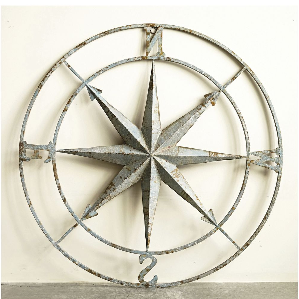 "Round Distressed Iron Compass Wall Decor – 41""dia Intended For Fashionable Round Compass Wall Decor (Gallery 1 of 20)"