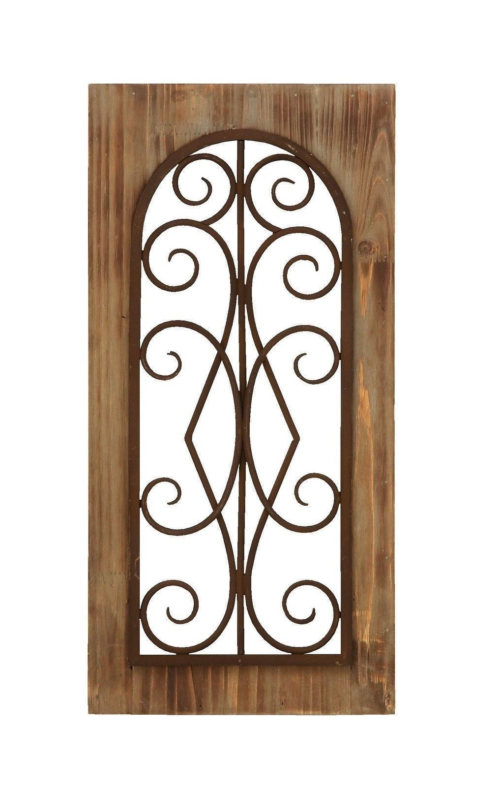 "Rustic Antiqued Wood And Metal Scrollwork Wall Panel 23"" X 11 In Well Known Brown Wood And Metal Wall Decor (View 3 of 20)"