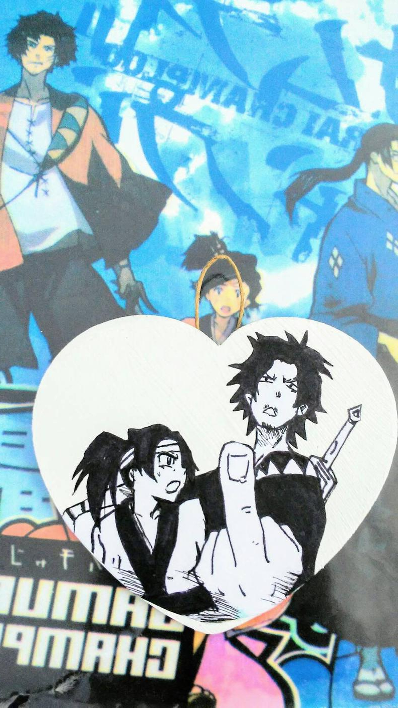 Samurai Champloo Hand Painted Fan Art Small Heart Wall Decor (View 16 of 20)