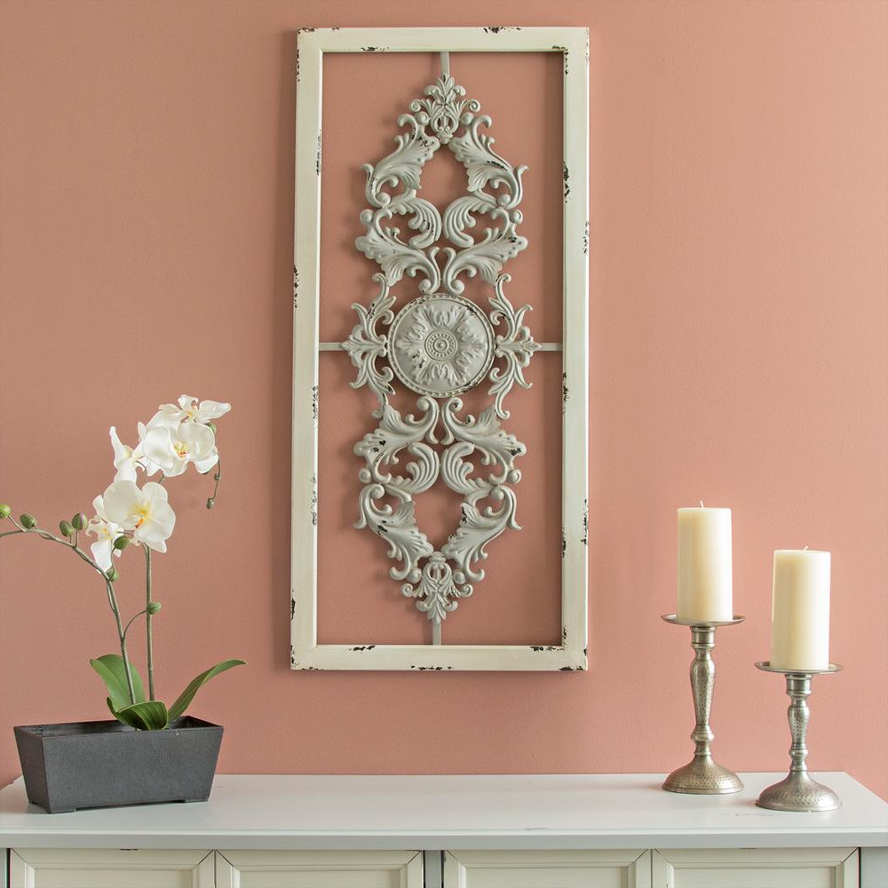 Scroll Panel Wall Decor Intended For Most Up To Date Stratton Home Decor Grey Scroll Metal Panel Wall Decor S09573 – The (Gallery 9 of 20)