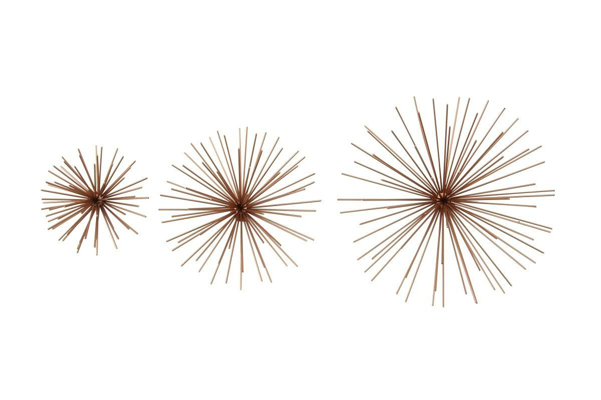Set Of 3 Contemporary 6, 9, And 11 Inch Gold Tin Starburst Sculptures For Best And Newest Set Of 3 Contemporary 6, 9, And 11 Inch Gold Tin Starburst (View 13 of 20)