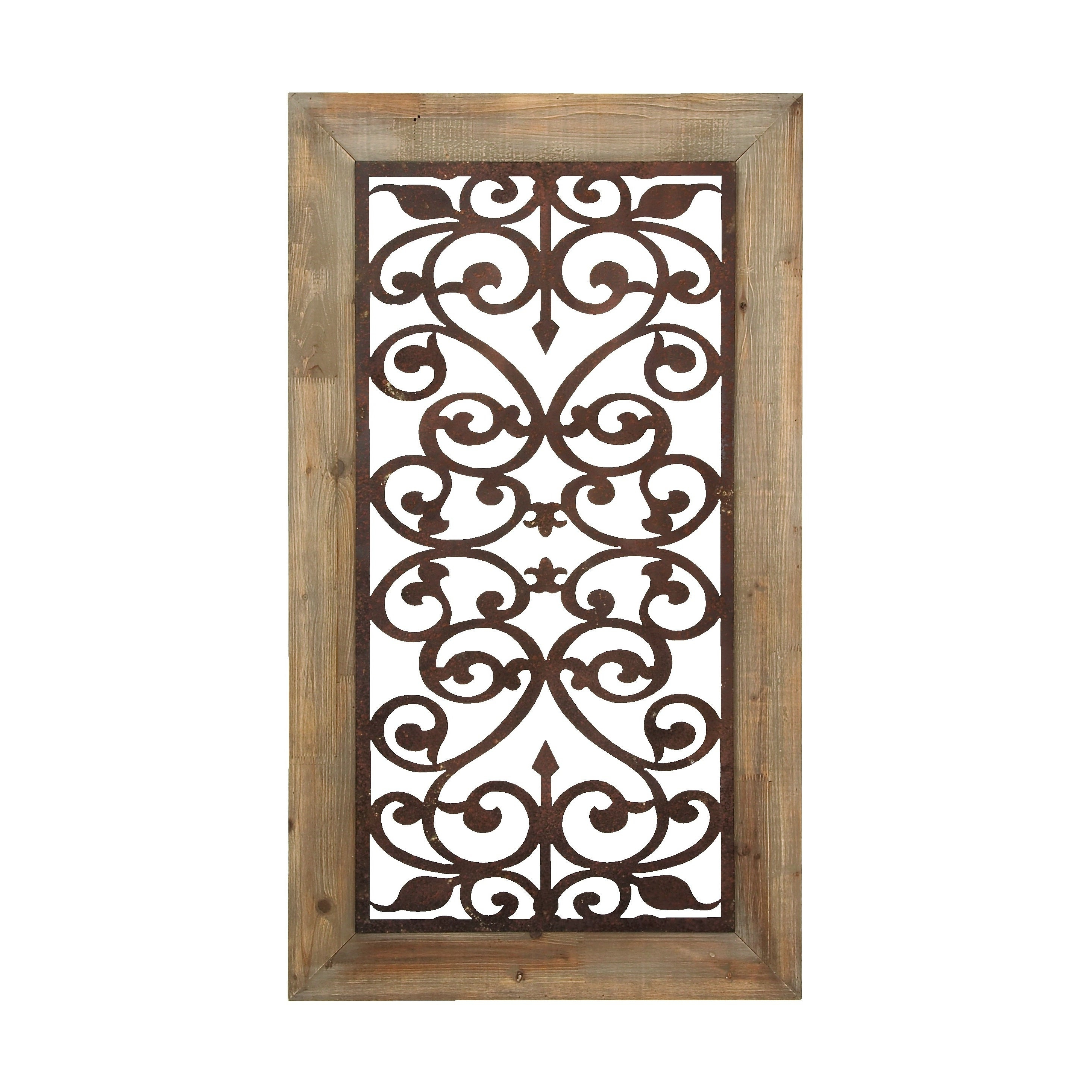 "Shop 26"" X 46"" Distressed Wood & Brown Metal Wall Art Panel W Inside Preferred Ornamental Wood And Metal Scroll Wall Decor (View 13 of 20)"