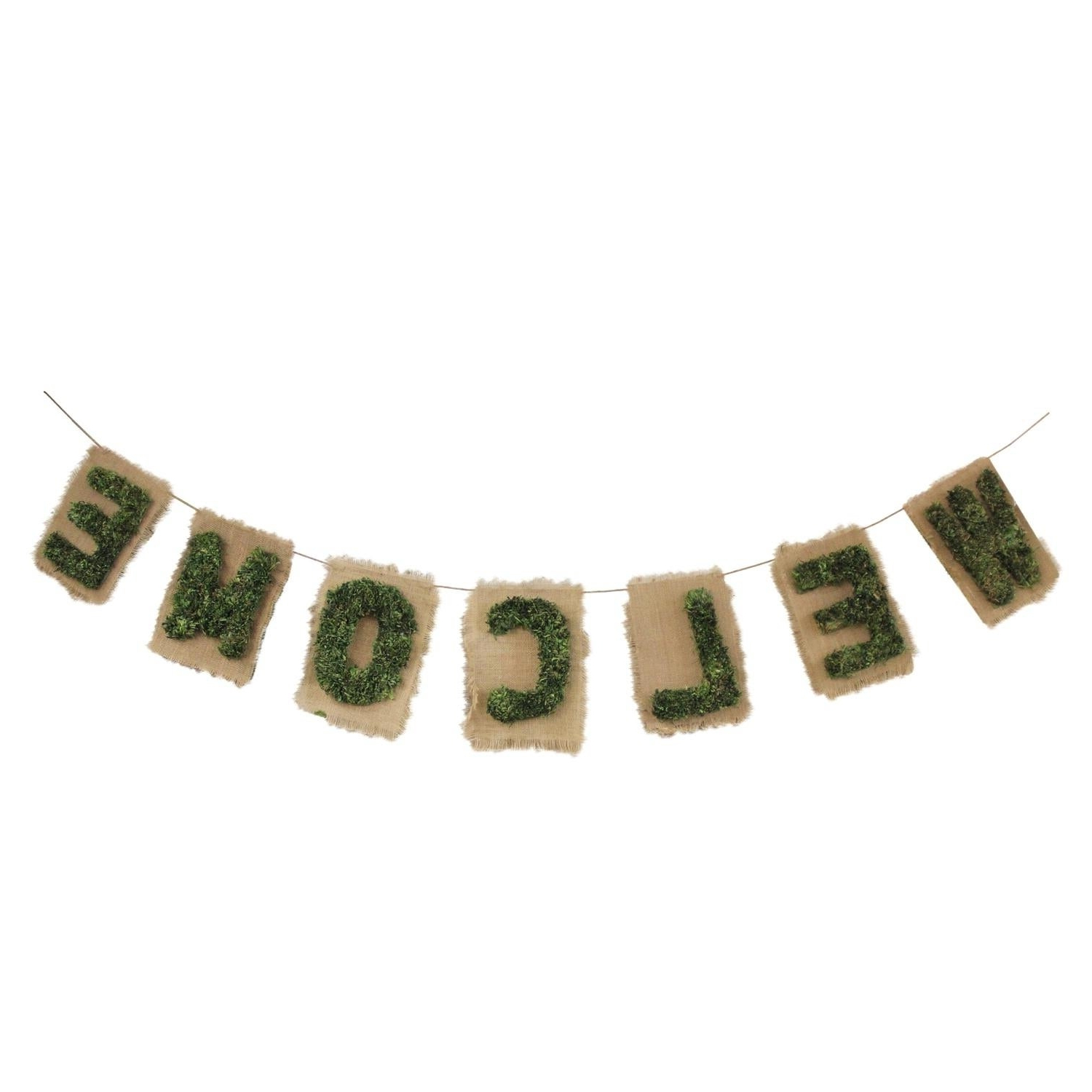 "Shop 6' Cozy Twine Brown And Green €Œwelcome"" Hanging Wall Intended For 2020 In A Word ""welcome"" Wall Decor (Gallery 17 of 20)"