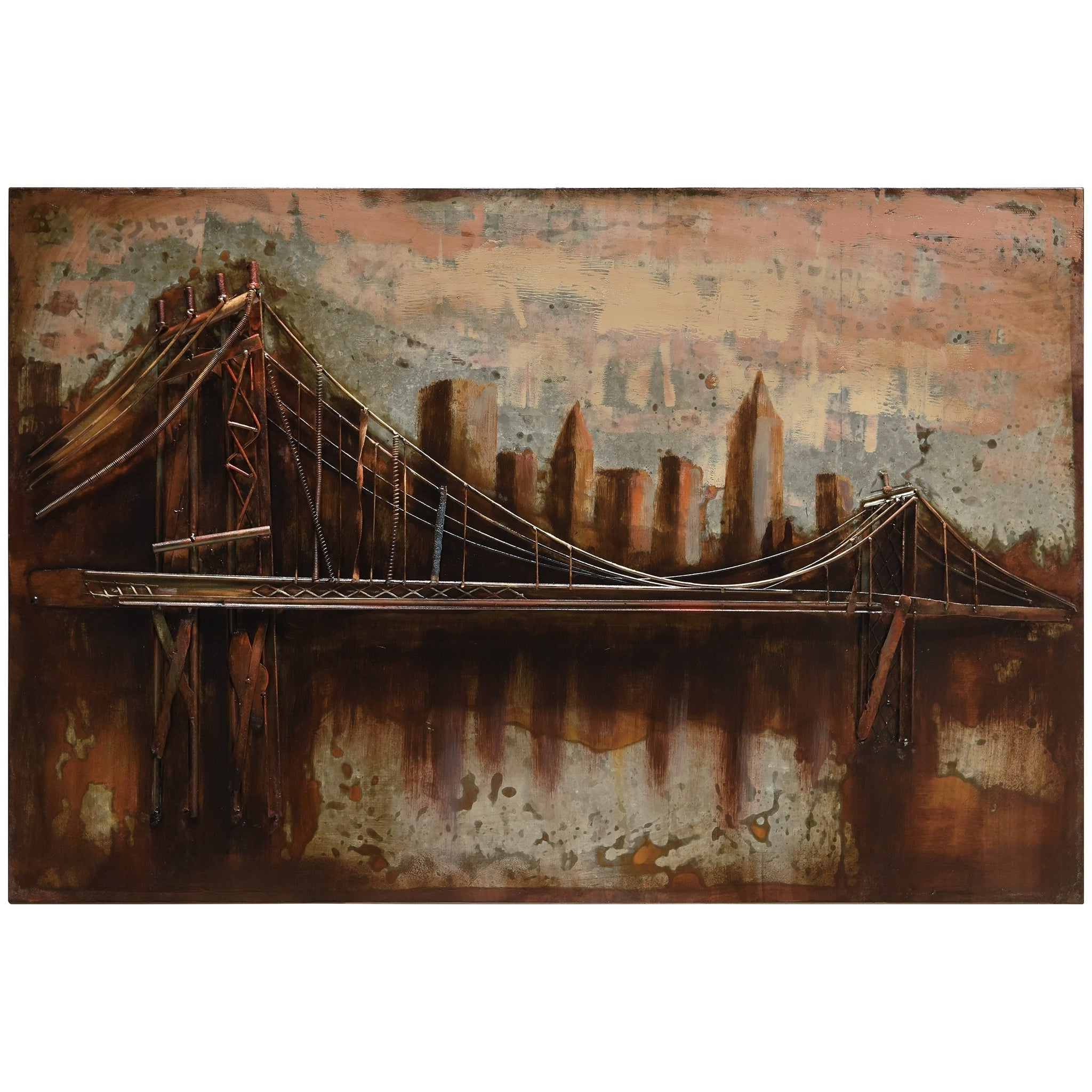 "Shop ""bridgescape"" Mixed Media Iron Hand Painted Dimensional Wall Within Famous ""bridge To The City"" Mixed Media Iron Hand Painted Dimensional Wall Decor (Gallery 3 of 20)"