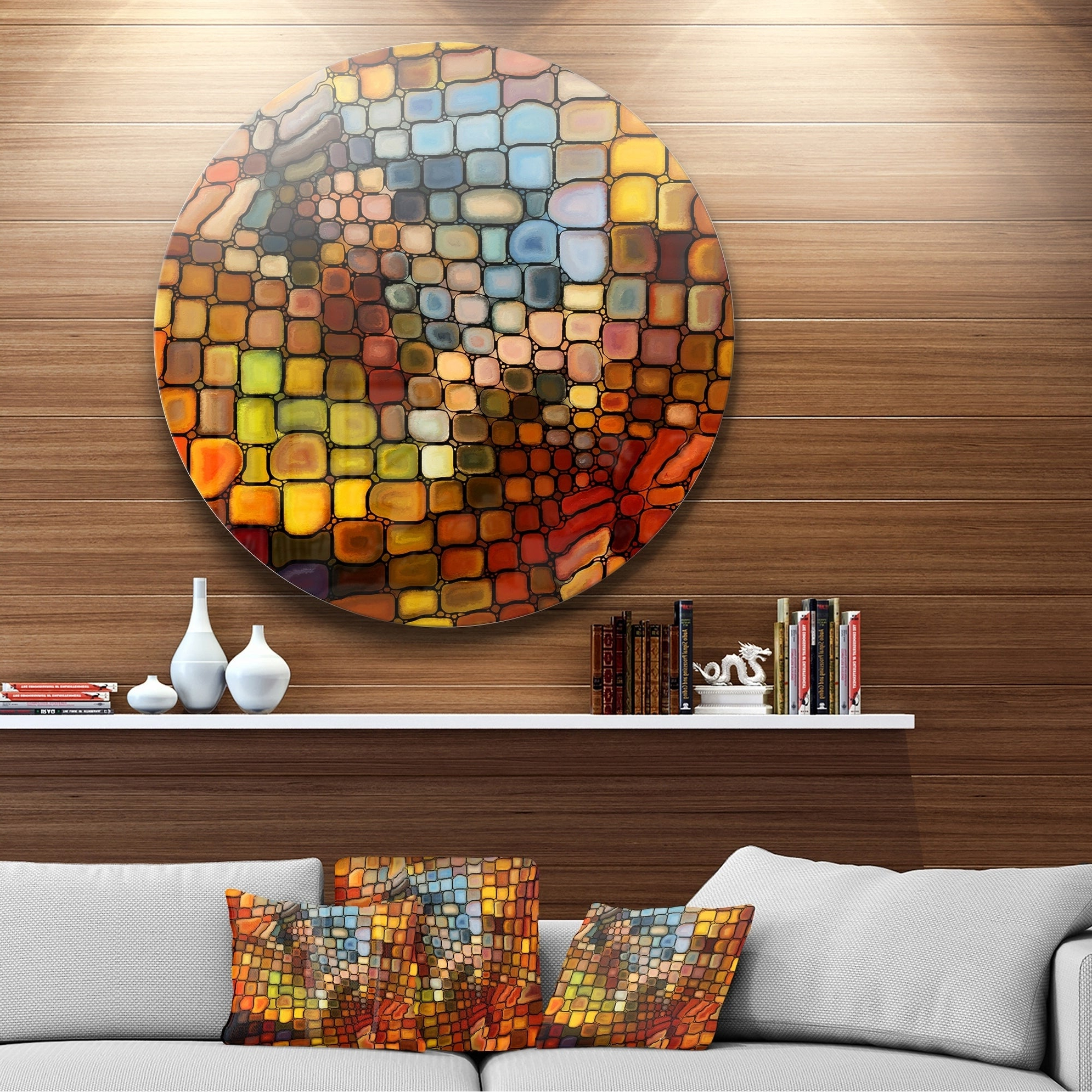 Shop Designart 'dreaming Of Stained Glass' Abstract Glossy Metal Throughout 2020 Abstract Bar And Panel Wall Decor (Gallery 12 of 20)
