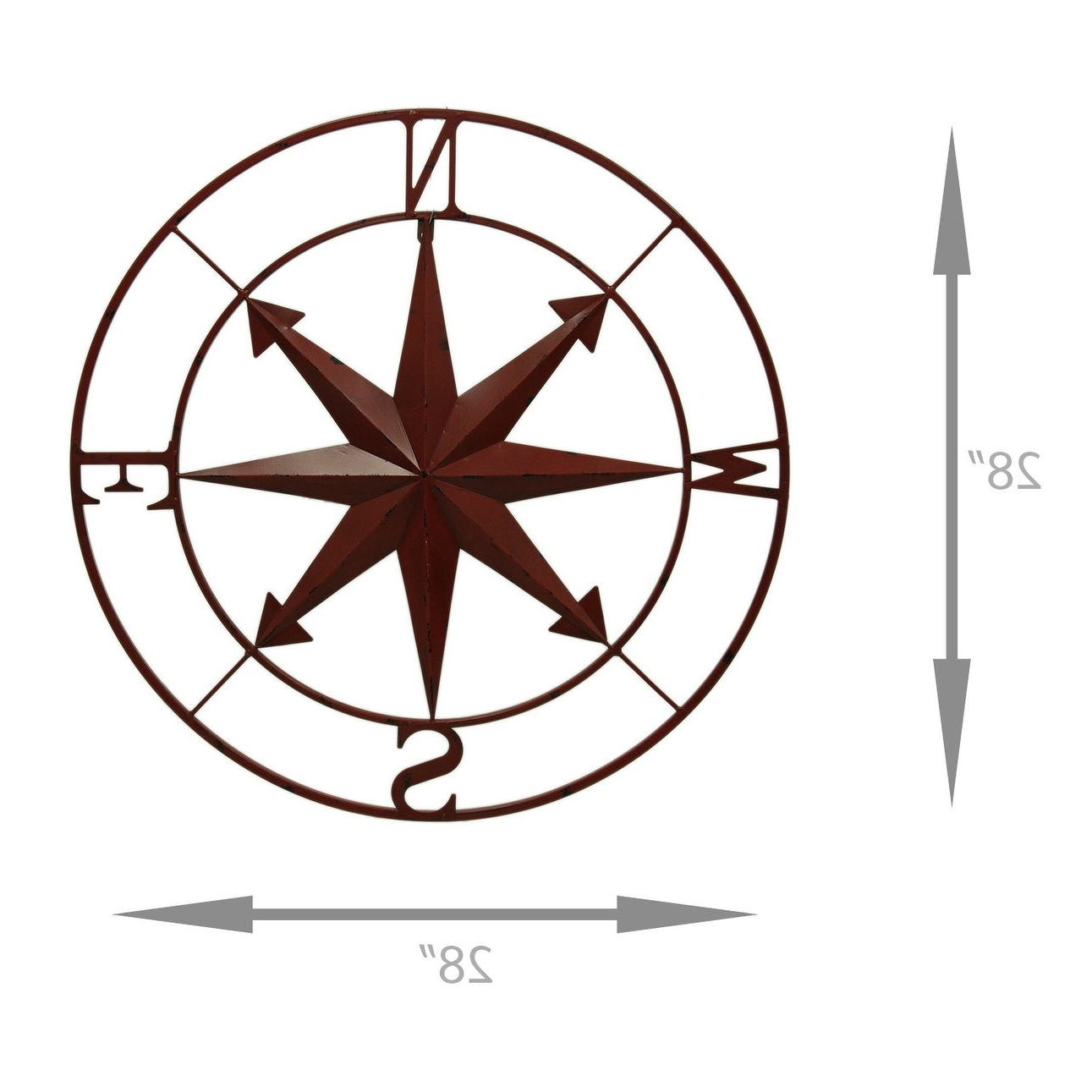 Shop Distressed Metal Indoor/outdoor Compass Rose Wall Hanging 28 In Most Recent Outdoor Metal Wall Compass (View 18 of 20)