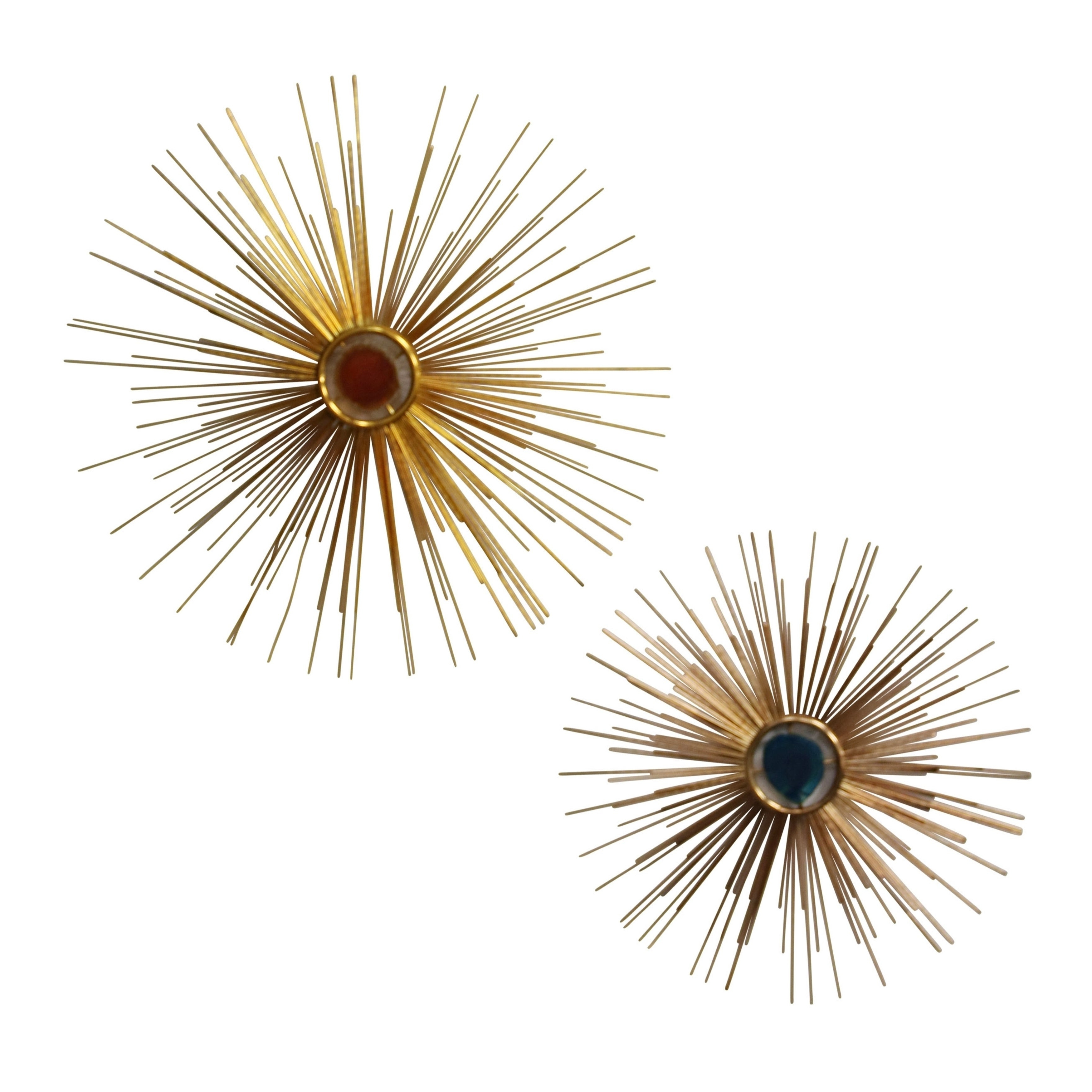 Shop Starburst Gold With Colored Centers Metal Wall Décor (set Of 2 With Fashionable 2 Piece Starburst Wall Decor Sets (View 20 of 20)