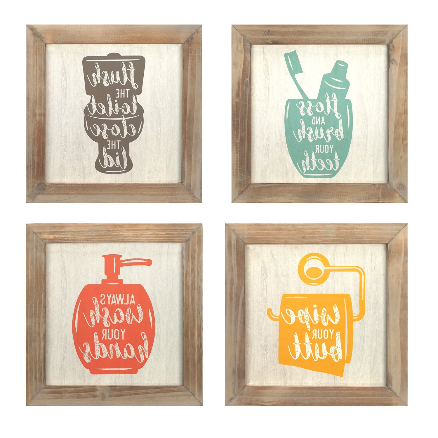 Shop Stratton Home Décor Set Of 4 Floss, Flush, Wipe, Wash Wall Art Throughout Favorite 3 Piece Wash, Brush, Comb Wall Decor Sets (Set Of 3) (View 3 of 20)