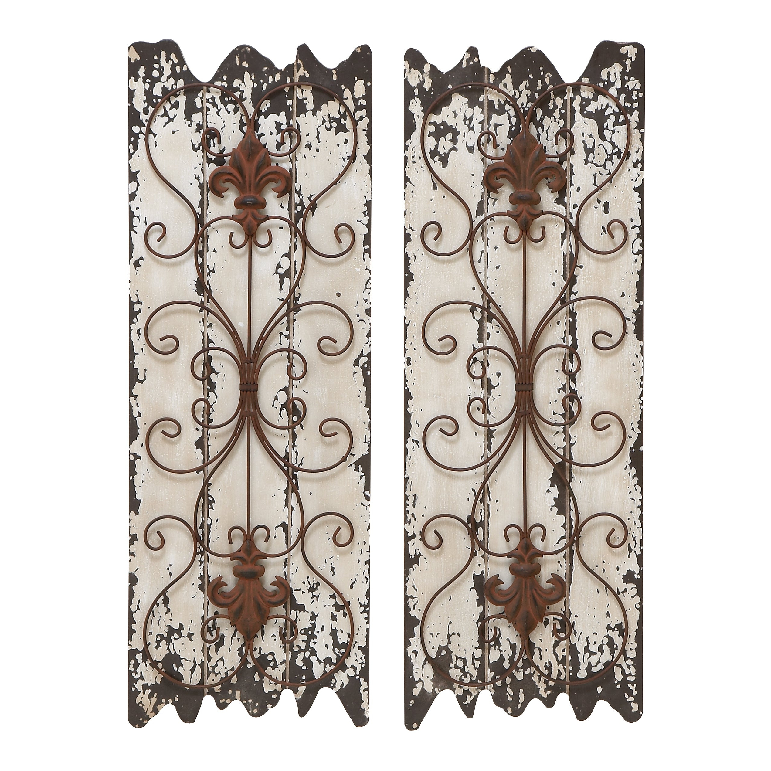 Shop Wood And Metal Wall Decor Panel (Set Of 2) – White – On Sale In Most Up To Date 4 Piece Metal Wall Plaque Decor Sets (View 15 of 20)