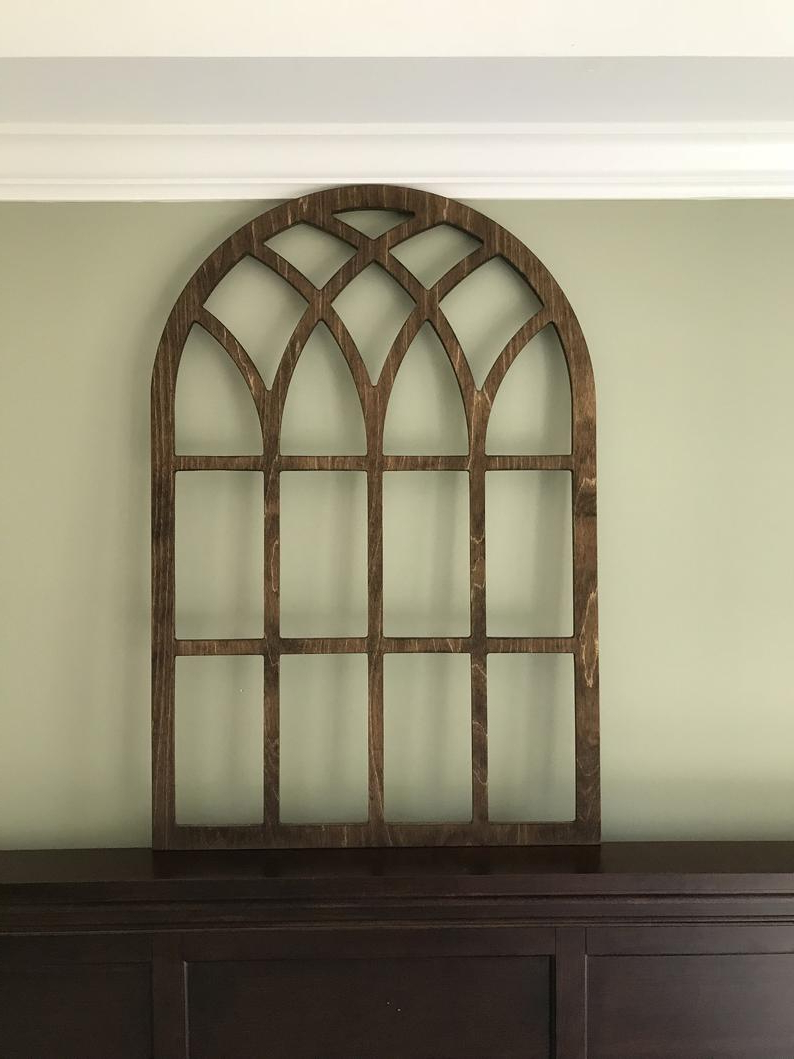 Shutter Window Hanging Wall Decor Regarding 2019 Arched Farmhouse Frame Faux Window Stained Custom Arch (View 8 of 20)