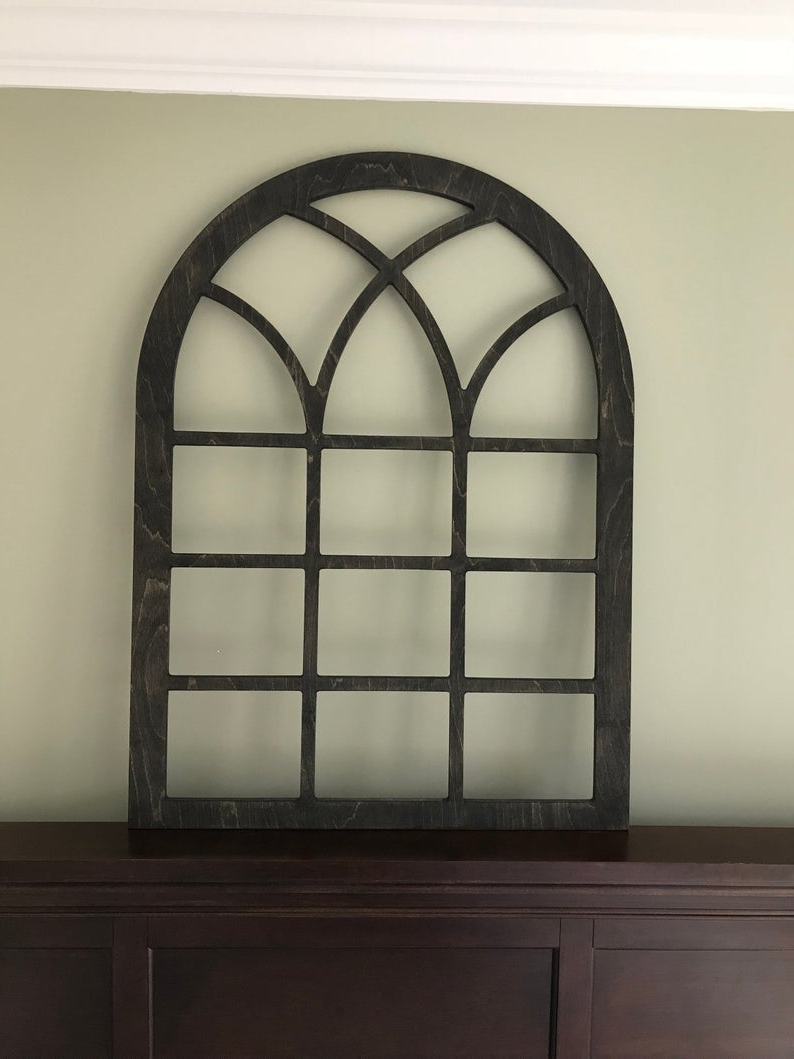 Shutter Window Hanging Wall Decor With Regard To Fashionable Arched Farmhouse Frame Faux Window Frame Arched Stained (Gallery 1 of 20)