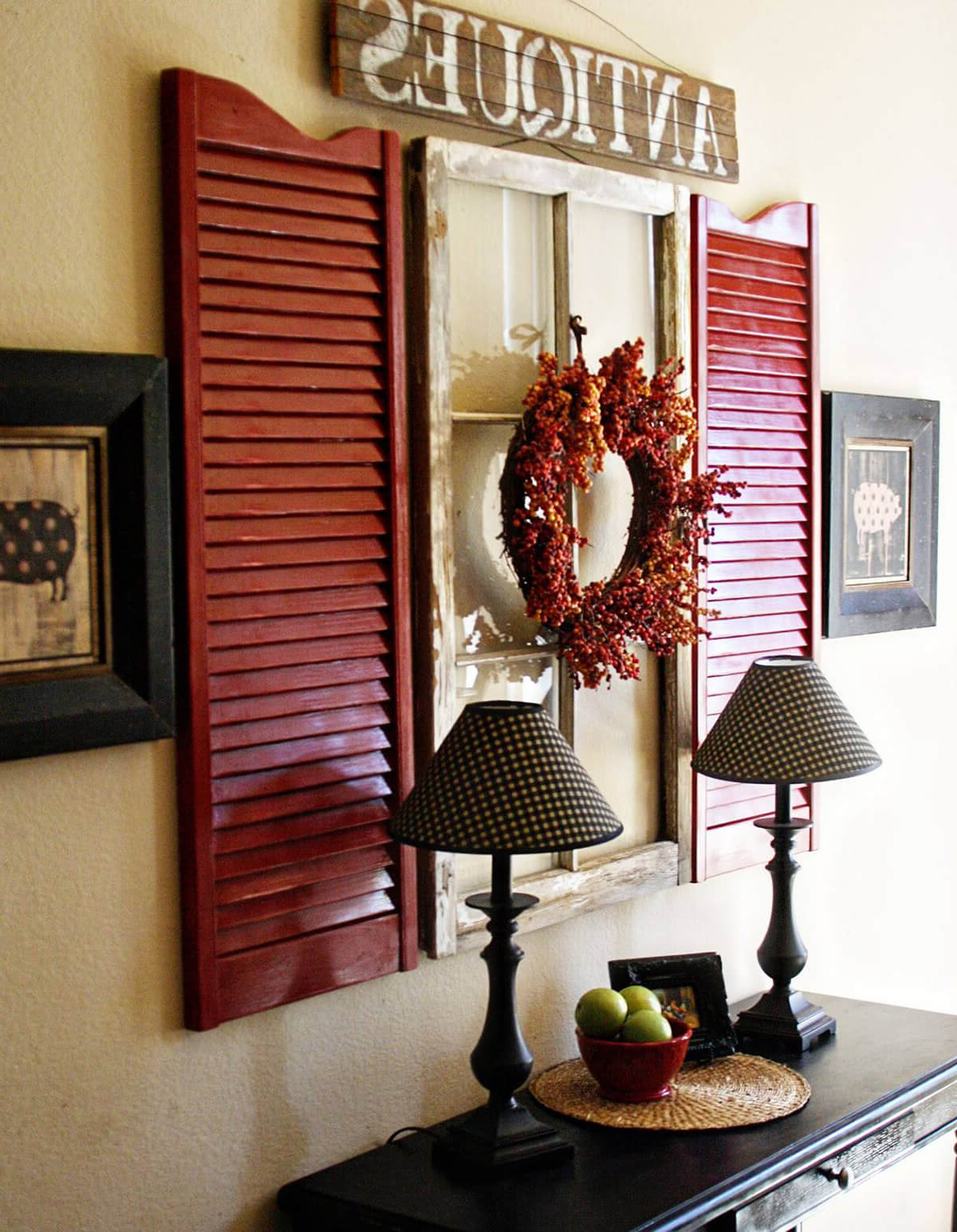 Shutter Window Hanging Wall Decor With Regard To Trendy 34 Best Old Shutter Decoration Ideas And Designs For (View 7 of 20)