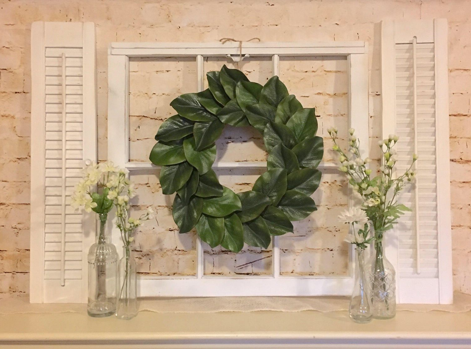 Shutter Window Hanging Wall Decor Within 2019 Farmhouse Wall Decor, Window Frame With Shutters, Magnolia Wreath In (View 17 of 20)