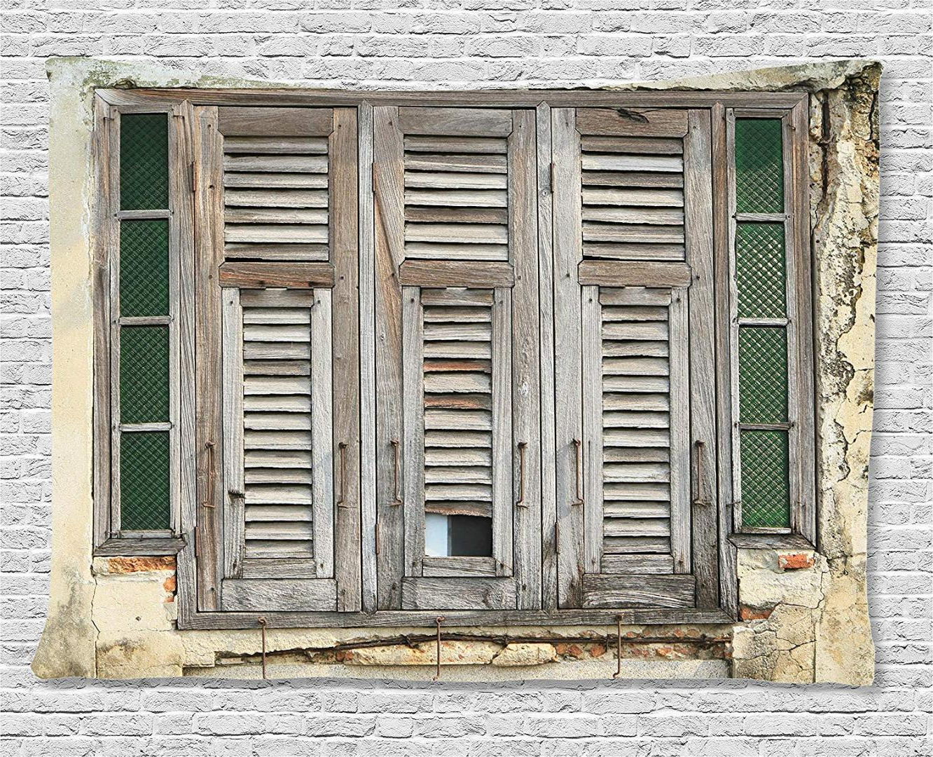 Shutters Decor Aged Weathered Wooden Window Blinds Rough Cracked Inside Most Recently Released Shutter Window Hanging Wall Decor (View 10 of 20)