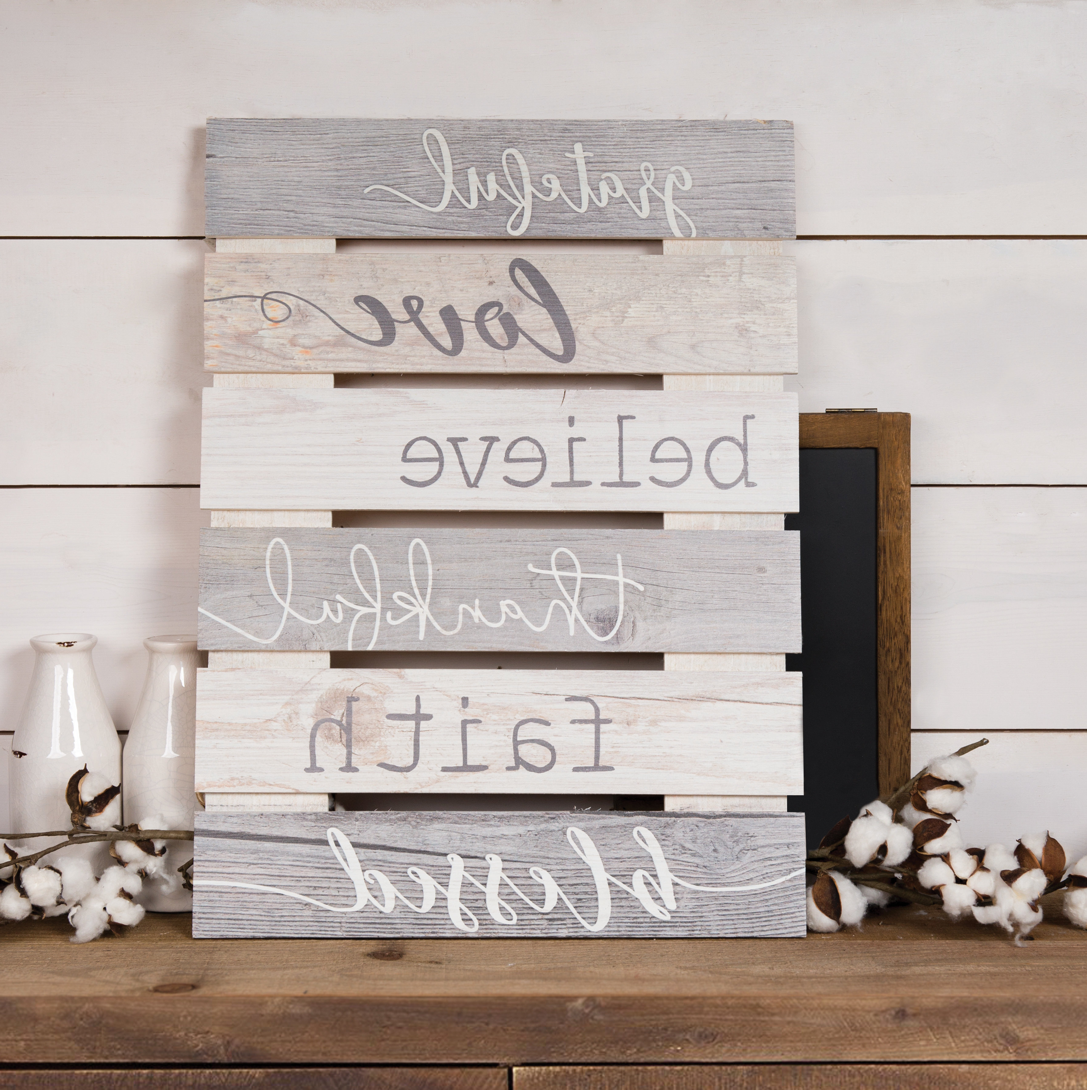 Skid Sign Grateful, Love, Believe, Thankful, Faith, Blessed Wall Inside Newest 3 Piece Wash, Brush, Comb Wall Decor Sets (Set Of 3) (Gallery 8 of 20)