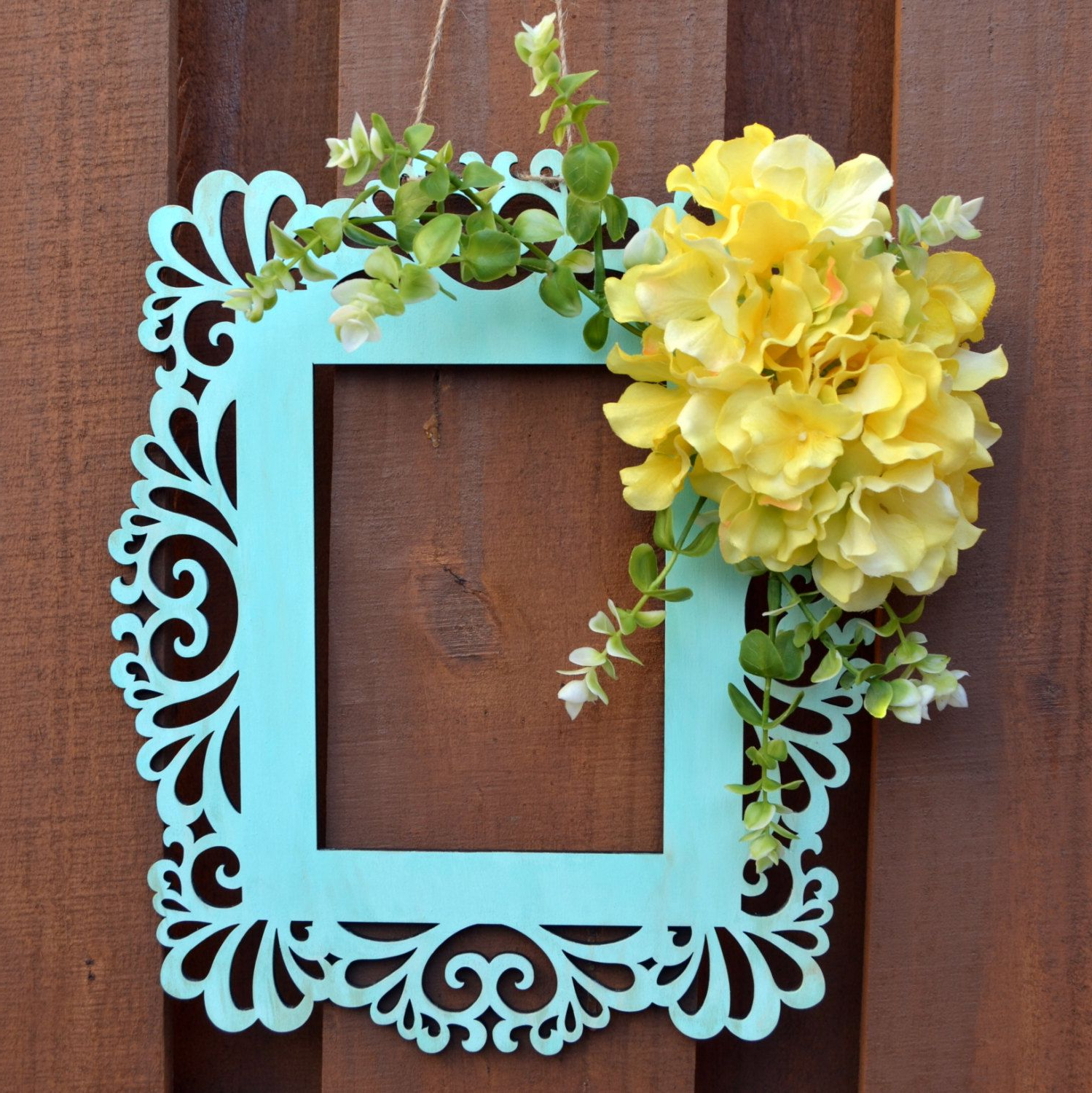 Spring Frame Wreath – Spring Door Hanger – Wall Decor – Frame Wreath In Recent Floral Wreath Wood Framed Wall Decor (View 16 of 20)