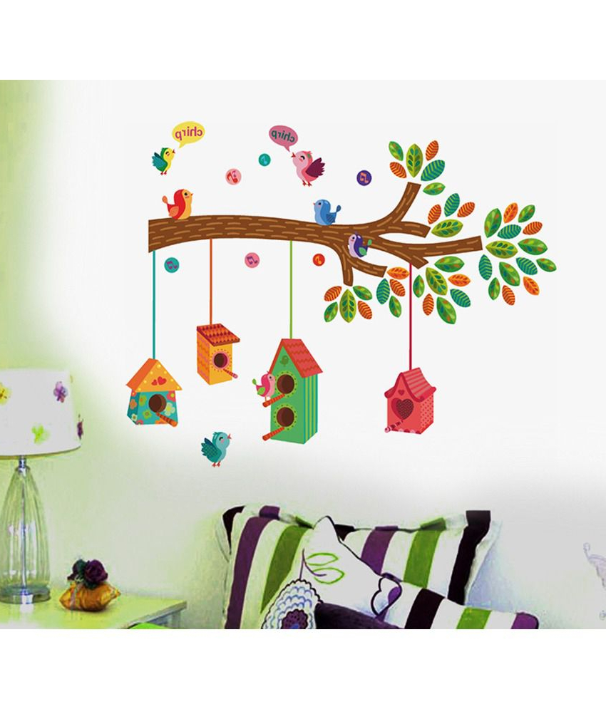 Stickerskart Nursery Colourful Bird House On A Branch Wall Decor Inside Well Known Birds On A Branch Wall Decor (Gallery 13 of 20)