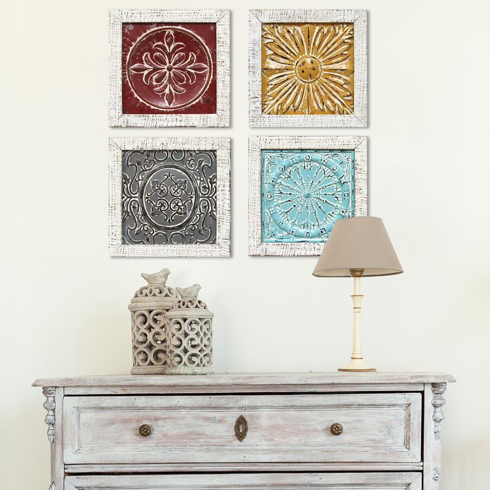 Stratton Home Decor Accent Metal Tile Wall Art (Set Of 4), Multi In In Most Recent 4 Piece Metal Wall Decor Sets (Gallery 1 of 20)