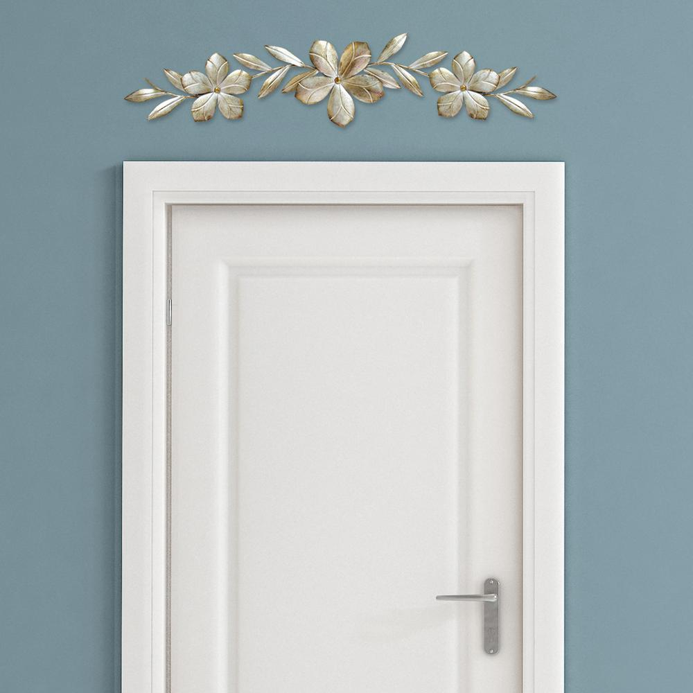 Stratton Home Decor Champagne Metal Flower Over The Door Wall Decor Regarding Most Current Brushed Pearl Over The Door Wall Decor (View 6 of 20)