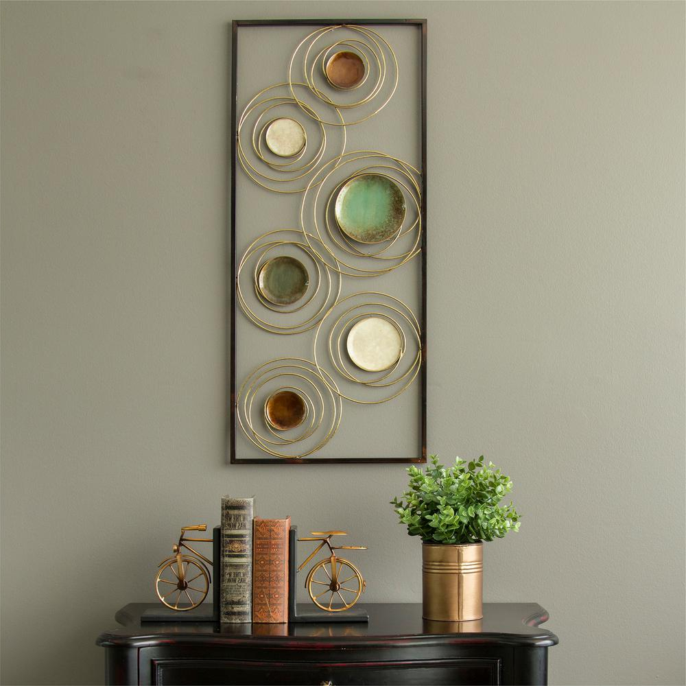Stratton Home Decor Geometric Metal Rings Panel Wall Decor S09548 Regarding Newest Rings Wall Decor (Gallery 12 of 20)