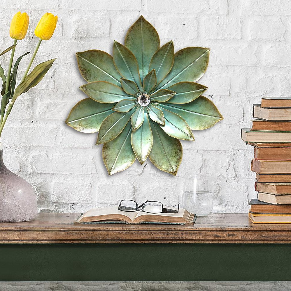 Stratton Home Decor Green Embellished Metal Flower Wall Decor S07659 Intended For Well Known Flower Wall Decor (View 15 of 20)