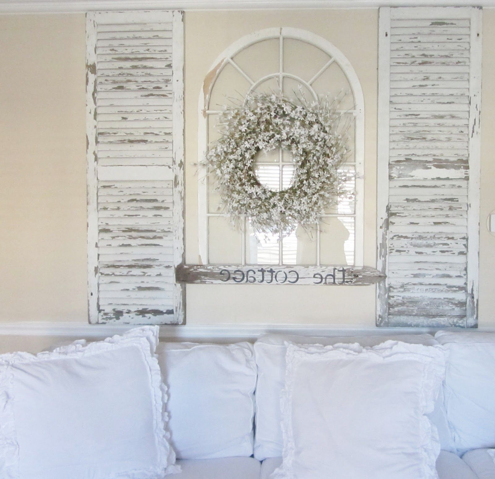 Taking Old Shutters And An Old Arch Pertaining To Shutter Window Hanging Wall Decor (Gallery 2 of 20)