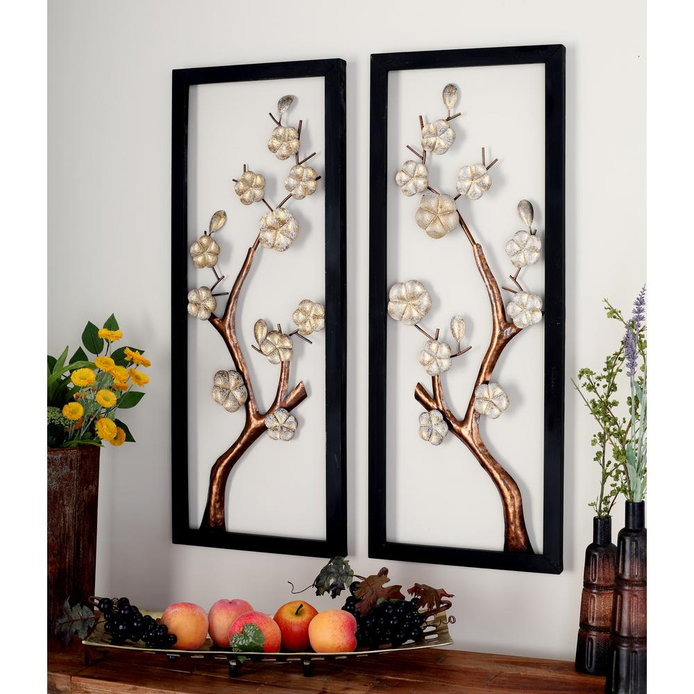 Three Flowers On Vine Wall Decor Regarding Widely Used Litton Lane Iron Rectangular Framed Cream Floral And Brown Tree (View 13 of 20)