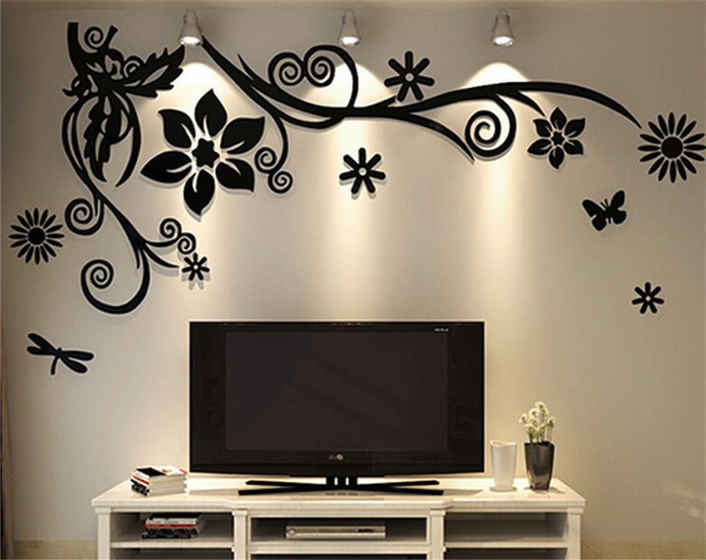 Three Flowers On Vine Wall Decor Throughout Most Recently Released 3D Three Dimensional Crystal Acrylic Wall Stickers Home Decor Living (View 14 of 20)