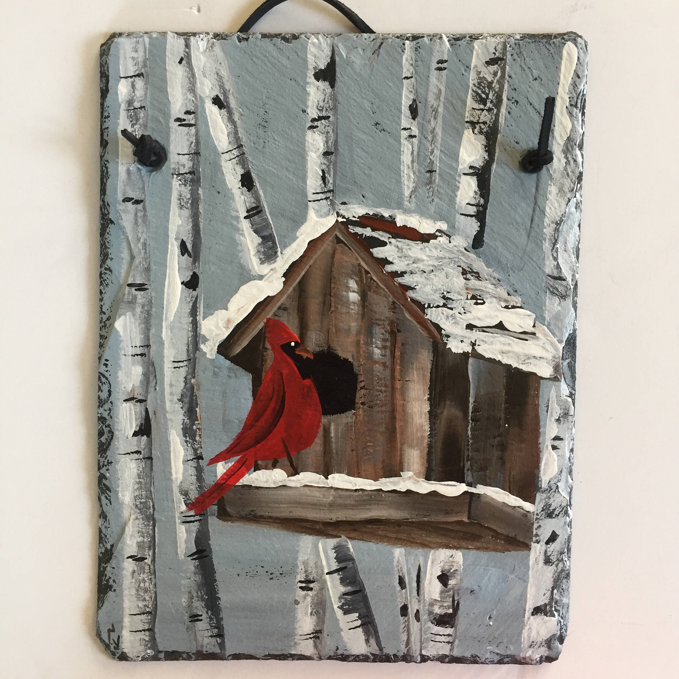Tree Welcome Sign Wall Decor In Current Red Cardinal & Birch Trees Slate Door Hanging, Winter Decor, Winter (View 19 of 20)