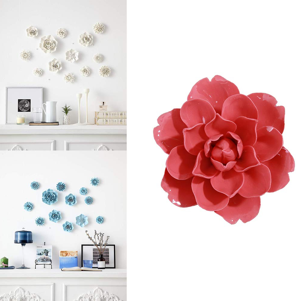Trendy 3 Piece Ceramic Flowers Wall Decor Sets In Amazon: Alycaso Wall Pediments Ceramics Flowers Wall Decoration (Gallery 1 of 20)