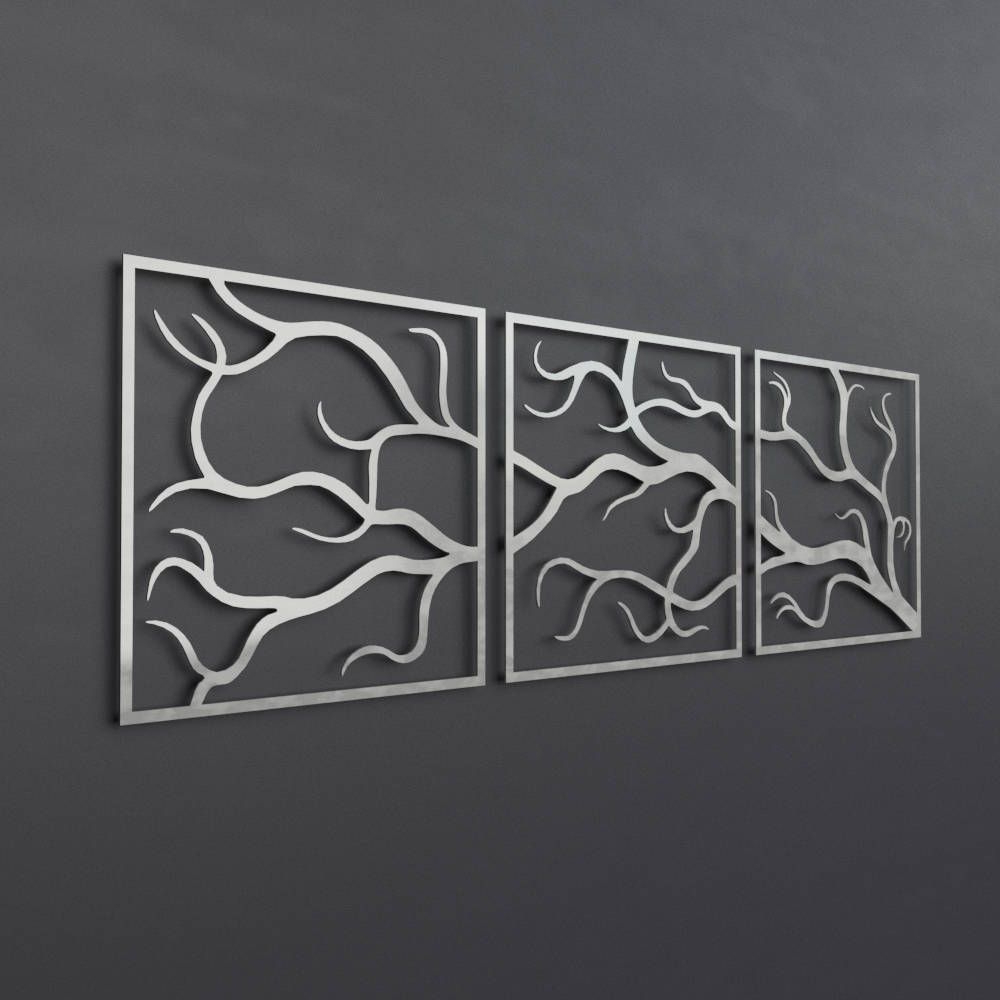 Trendy 4 Piece Metal Wall Plaque Decor Sets In 3 Piece Metal Tree Branch Wall Art, Large Metal Wall Art Sculpture (View 16 of 20)