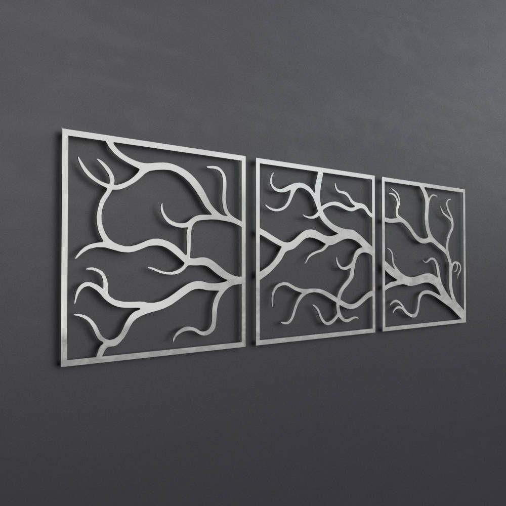 Trendy 4 Piece Metal Wall Plaque Decor Sets In 3 Piece Metal Tree Branch Wall Art, Large Metal Wall Art Sculpture (Gallery 14 of 20)