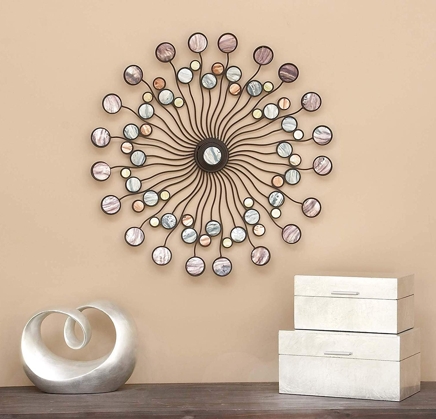 Trendy Alvis Traditional Metal Wall Decor Within Amazon: Deco 79 13533 Metal Wall Modern Iron Starburst Wall (View 15 of 20)