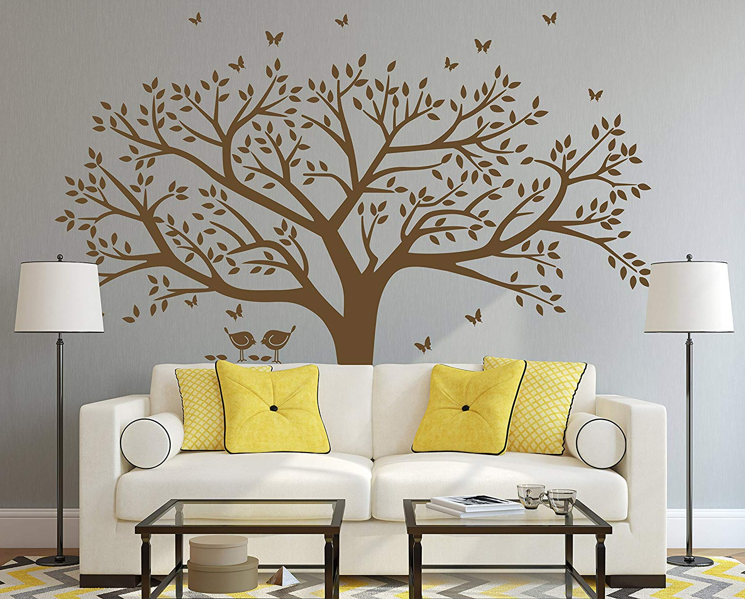 Trendy Amazon: Anber Family Tree Wall Decal Butterflies And Birds Wall With Tree Wall Decor (Gallery 17 of 20)
