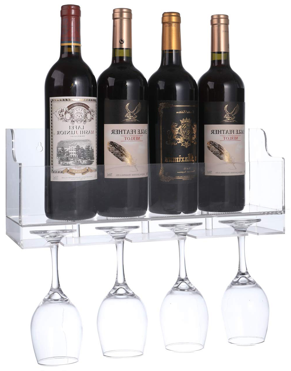 Trendy Amazon: Sooyee Acrylic Wall Mounted Wine Rack,bottle & Glass Regarding Three Glass Holder Wall Decor (View 17 of 20)