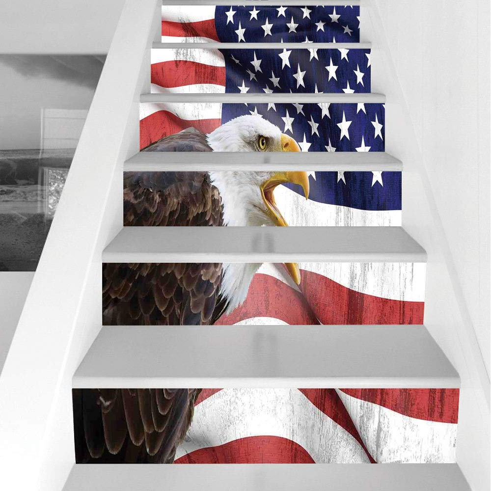 Trendy Amazon: Stair Stickers Wall Stickers,6 Pcs Self Adhesive Inside American Pride 3D Wall Decor (Gallery 12 of 20)