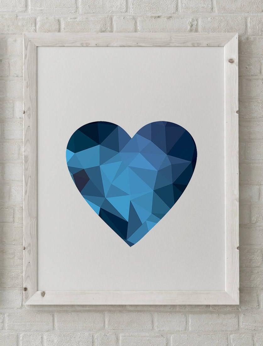Trendy Contemporary Geometric Wall Decor With Regard To Geometric Heart Print, Blue Geometric Art Print, Contemporary Wall (View 17 of 20)