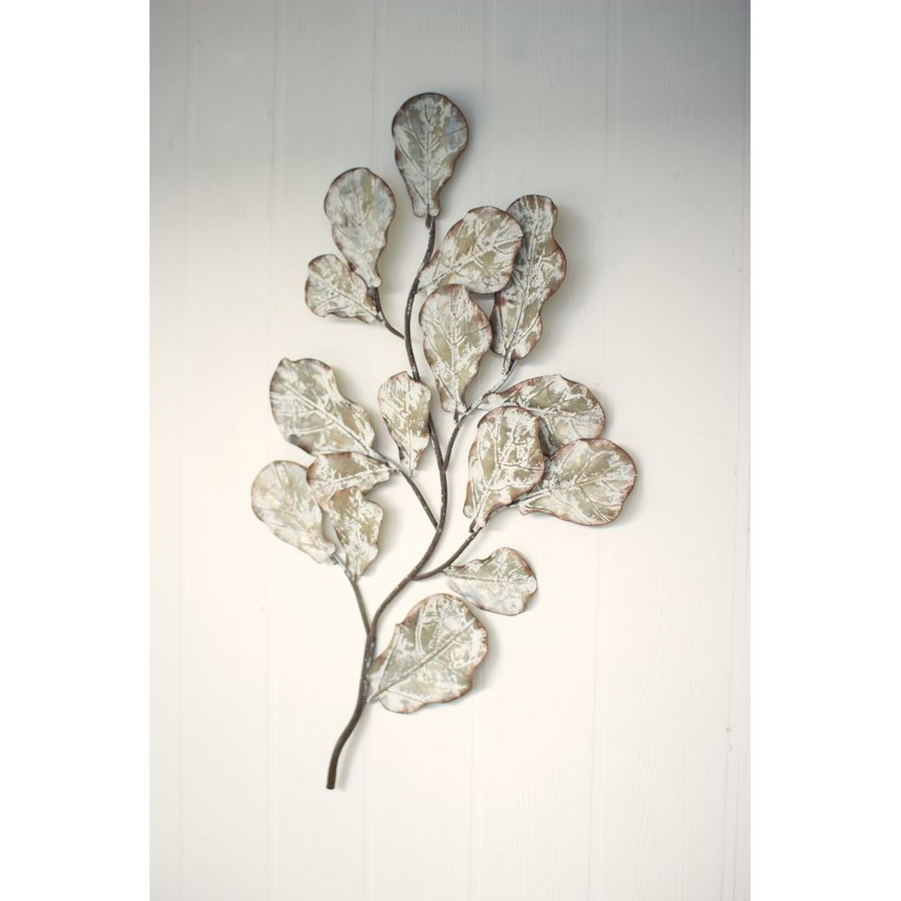 Trendy Distressed White Metal Leaf Wall Decoration Cvy1029 – The Home Depot Throughout Leaves Metal Sculpture Wall Decor (Gallery 6 of 20)
